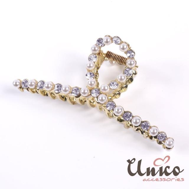 【UNICO】簡約優雅法式風珍珠水鑽大號鯊魚夾/髮夾(髮飾/配件/珍珠/金屬/水鑽)