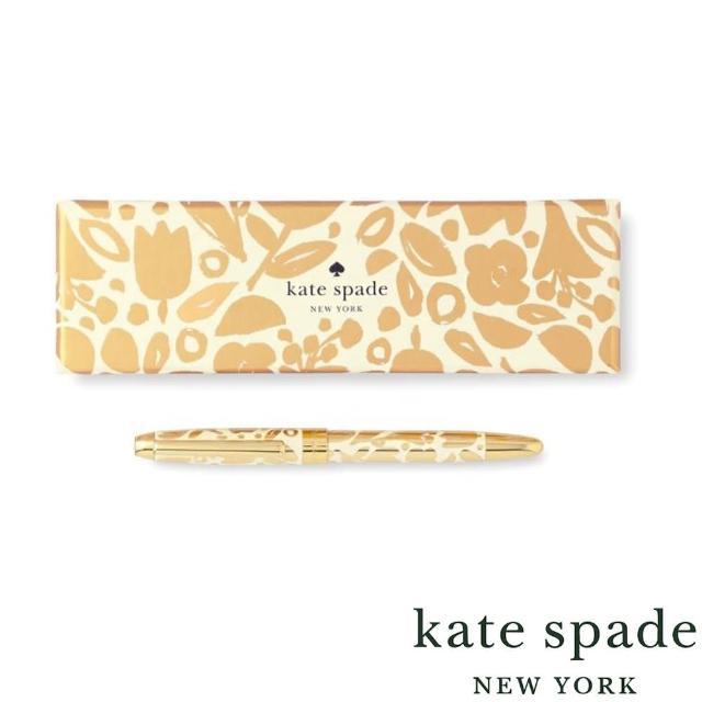 【KATE SPADE】Golden Floral 黃金花叢 精裝圓珠筆禮盒