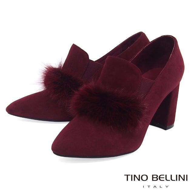 【TINO BELLINI 貝里尼】優雅貂毛高跟踝靴B79250(酒紅)