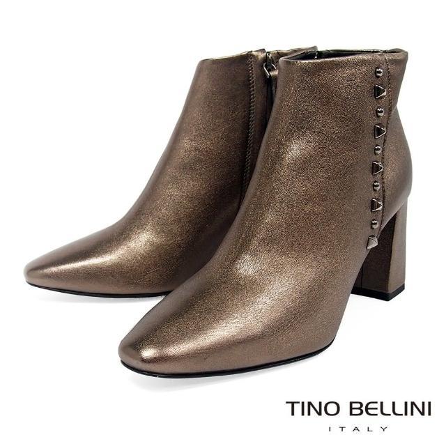 【TINO BELLINI 貝里尼】義大利進口俐落氣場鉚釘高跟短靴TF8542(香檳金)