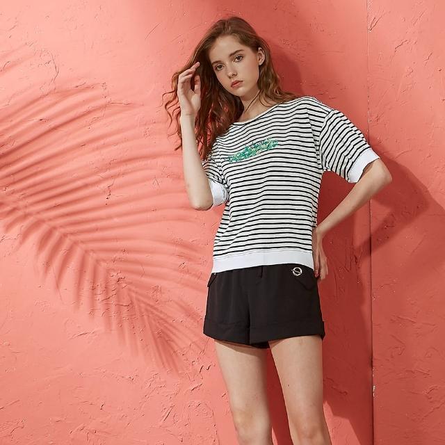 【CUMAR】清新條紋綠葉-女短袖上衣(三色/魅力商品/版型適中)