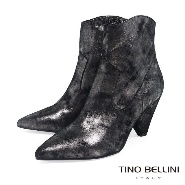 【TINO BELLINI 貝里尼】義大利進口摩登時尚側拉鍊尖頭短靴VI8537(銀)