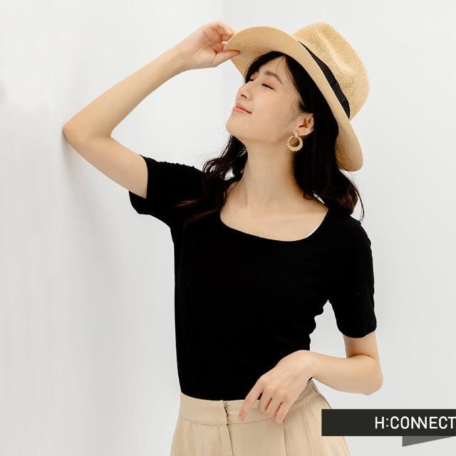 【H:CONNECT】韓國品牌 女裝 -素色大圓領羅紋短版上衣(黑色)