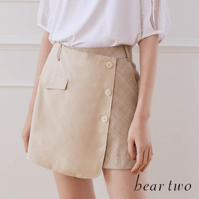 【bear two】不對稱格紋半裙褲