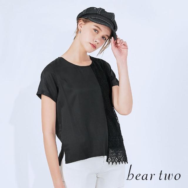 【bear two】菱格蕾絲拼接T