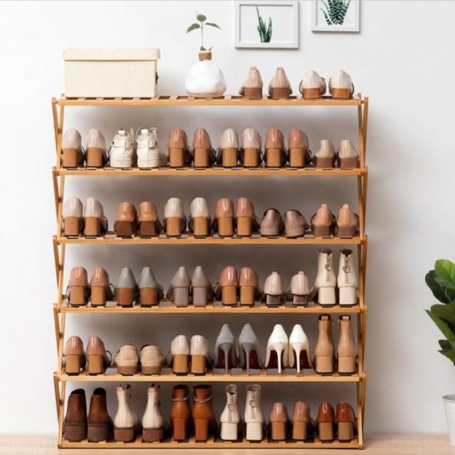 【AOTTO】大容量免安裝六層折疊鞋架 置物架(免安裝 可折疊)