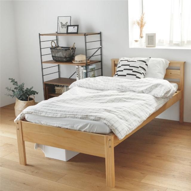防疫必備 居家辦公【完美主義】日系簡約3.5尺單人床架組/自然松木紋床架-2色(半實木 單人床 床架)