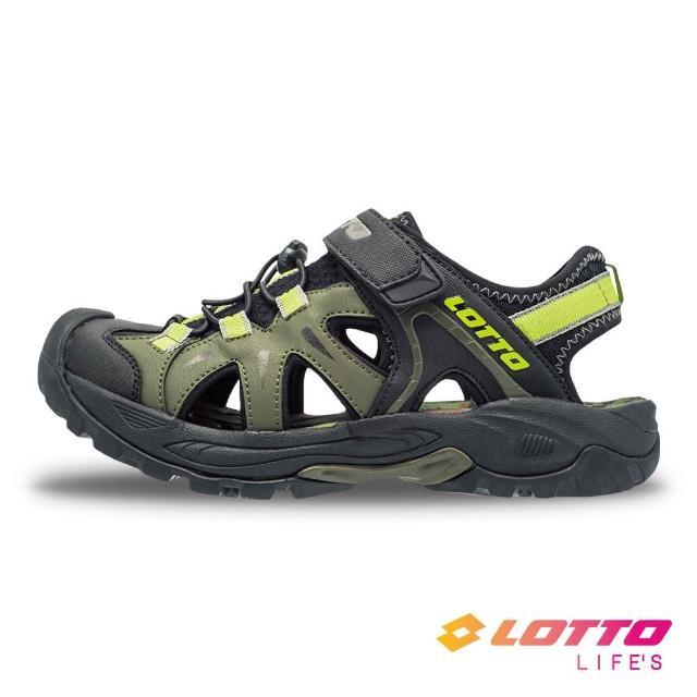 【LOTTO】男 護趾排水健走涼鞋(綠-LT1AMS3235)