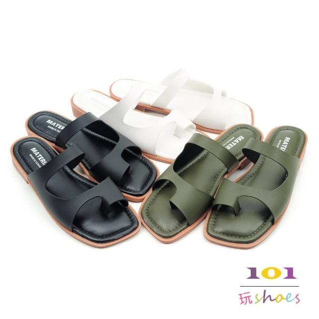 【101 玩Shoes】mit.個性方頭指扣彈性舒適中底平底拖鞋(黑/墨綠/白.36-40碼)