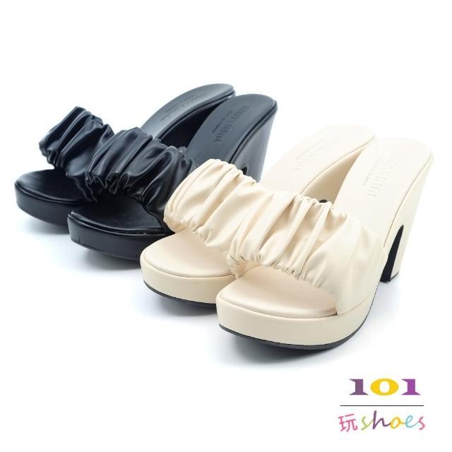 【101 玩Shoes】mit. 氣質抓皺粗跟時尚拖鞋(黑色/白色.35-39碼)