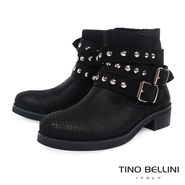【TINO BELLINI 貝里尼】義大利進口沖孔壓紋鉚釘釦帶工程靴B79211(黑)