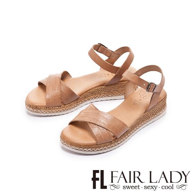 【FAIR LADY】盛夏 PORRONET 植鞣皮革交叉線條麻編底涼鞋(卡其、222374)