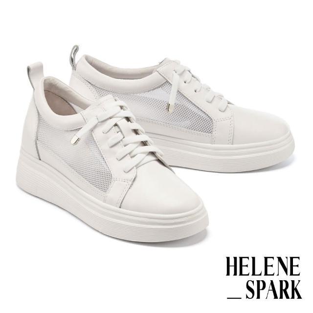 【HELENE SPARK】率性日常異材質彈力鞋帶厚底休閒鞋(白)