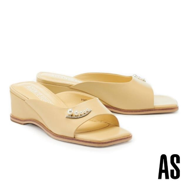 【AS 集團】優雅氣質珍珠鑽釦全真皮方頭楔型高跟拖鞋(黃)
