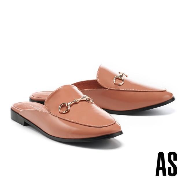 【AS 集團】復刻經典時尚馬銜釦羊皮低跟穆勒拖鞋(橘)