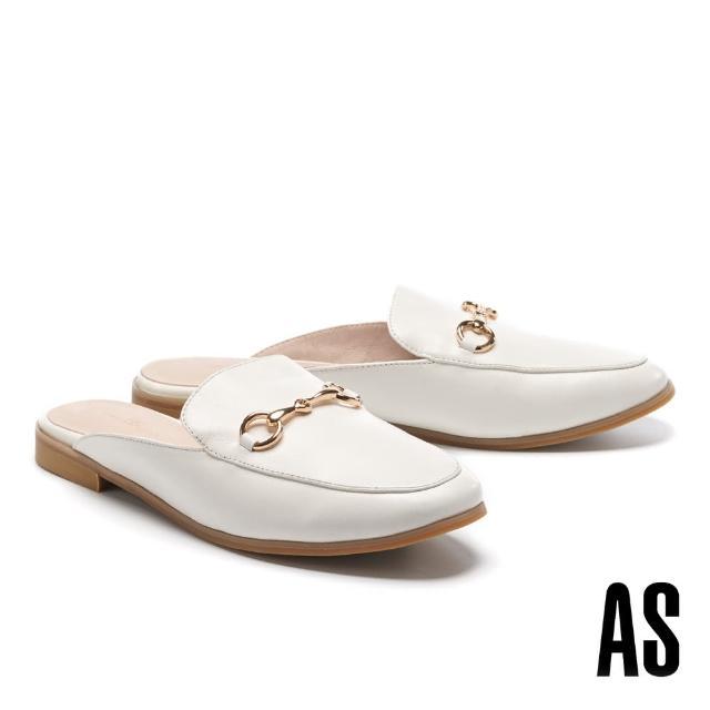 【AS 集團】復刻經典時尚馬銜釦羊皮低跟穆勒拖鞋(白)