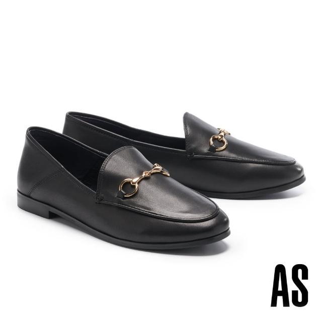【AS 集團】復刻經典時尚馬銜釦羊皮樂福低跟鞋(黑)