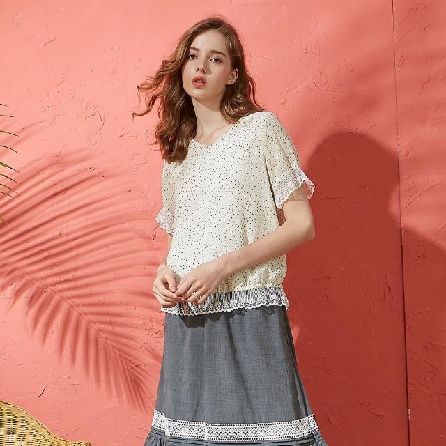 【CUMAR】蕾絲拼接點點-女短袖襯衫(二色/版型適中)