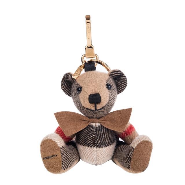 【BURBERRY 巴寶莉】經典領結造型 Thomas 泰迪熊吊飾/鑰匙圈(棕色)