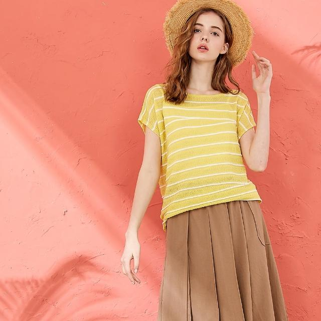 【CUMAR】時尚斜邊條紋-女短袖針織衫(二色/魅力商品/版型適中)