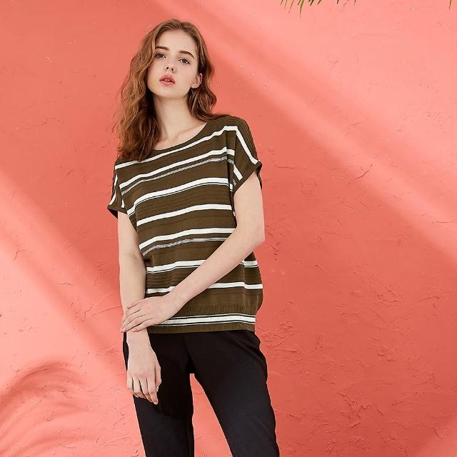 【CUMAR】圓領百搭條紋-女短袖針織衫(三色/魅力商品/版型適中)