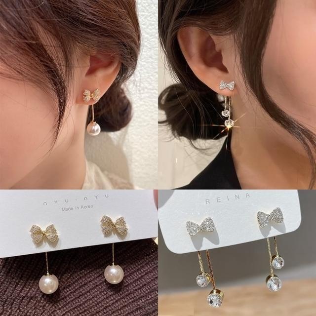 【Emi 艾迷】韓系微奢細緻蝴蝶結珍珠鋯石垂墜925銀針耳環