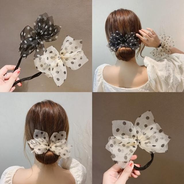 【Emi 艾迷】悠然夏日點點雪紡紗盤髮棒盤髮器