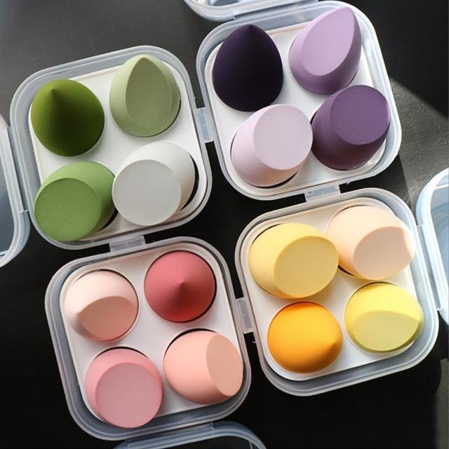【幸福揚邑】盒裝3款4入水滴美妝蛋 洗臉卸妝海綿 乾濕兩用化妝粉撲