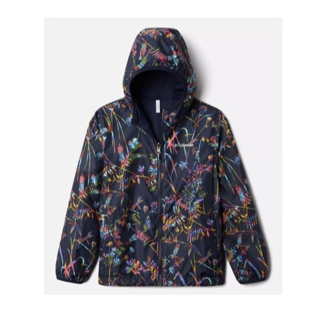 【Columbia 哥倫比亞】童款- 防小雨雙面穿外套-藍印花(UKY00060TY / 防潑.舒適.戶外)