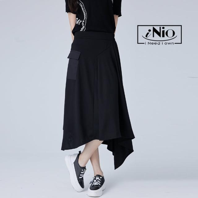 【iNio 衣著美學】不對稱斜側擺鬆緊腰造型長裙(S-L適穿)-C1W2112