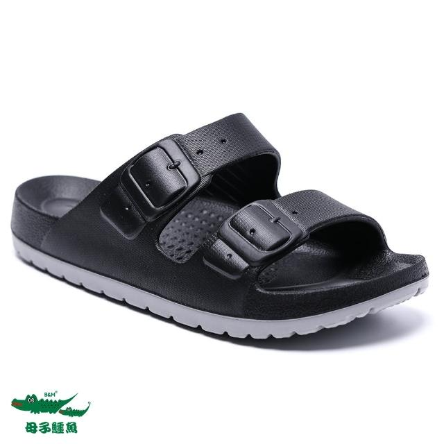 【母子鱷魚】玩美雙色輕量時尚拖鞋-黑