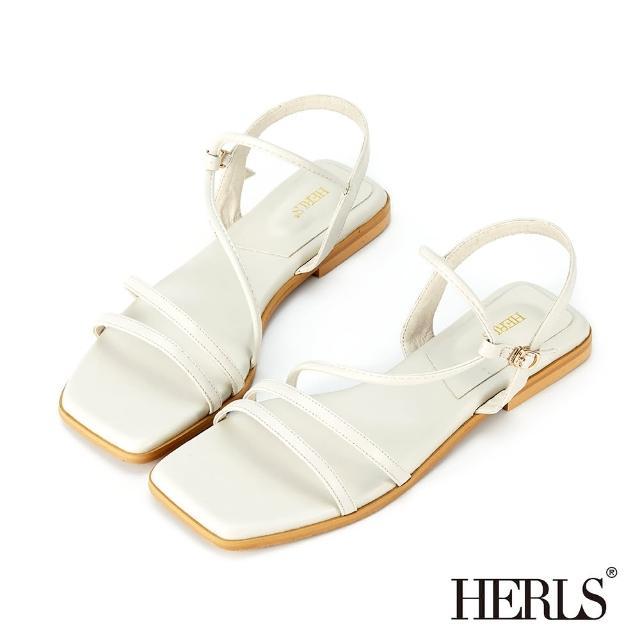 【HERLS】涼鞋-多細帶斜繞平底涼鞋(灰白色)