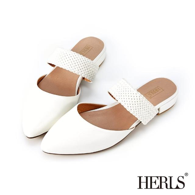 【HERLS】穆勒鞋-編織橫帶鏤空尖頭低跟穆勒鞋拖鞋(白色)