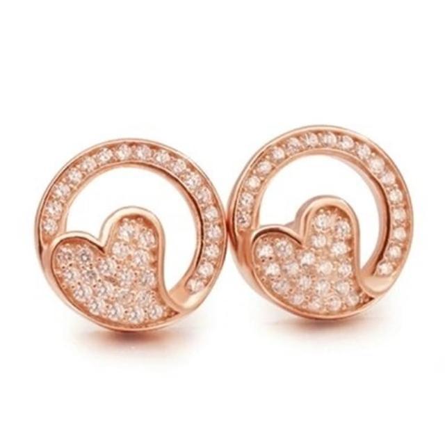 【米蘭精品】925純銀耳環鑲鑽耳飾(精緻鏤空心型設計情人節生日禮物女飾品73dm62)