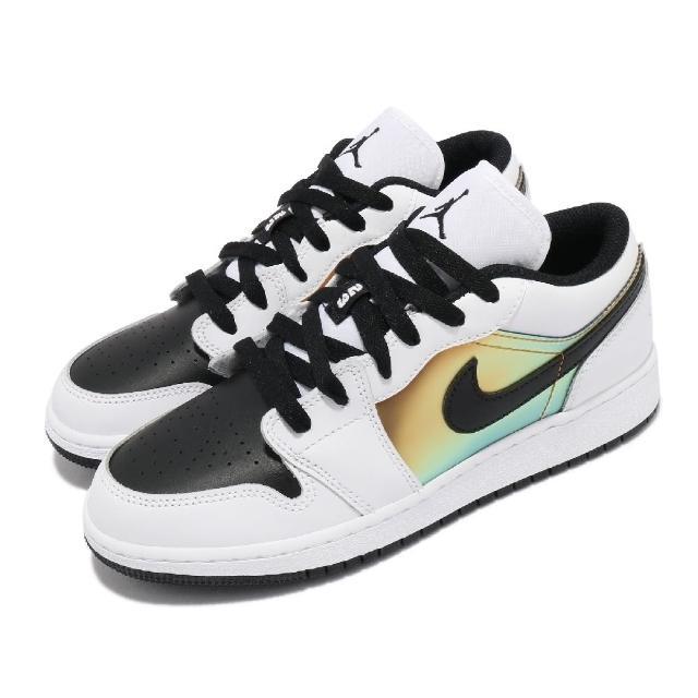 【NIKE 耐吉】休閒鞋 Air Jordan 1 Low SE 女鞋 經典款 喬丹一代 皮革 簡約 穿搭 白 黑 金(CV9844-109)