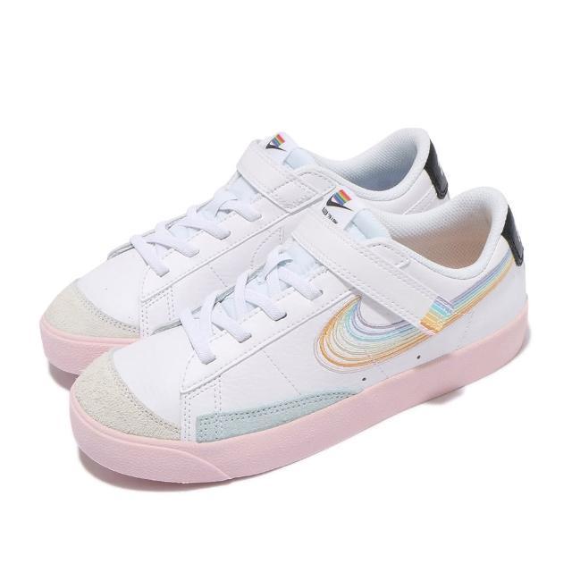 【NIKE 耐吉】休閒鞋 Blazer Low 77 運動 童鞋 Betrue 彩虹 魔鬼氈 中童 簡約穿搭 白彩(DJ4293-100)