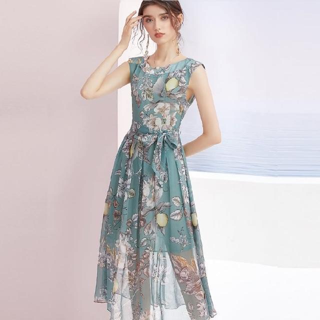 【A'bella 艾貝菈】西洋梨黑白葉印花碧綠綁帶長洋裝(S-2XL)