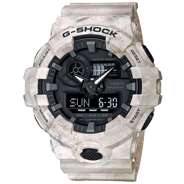 【CASIO 卡西歐】G-SHOCK UTILITY WAVY MARBLE系列大理石紋雙顯手錶(GA-700WM-5A)