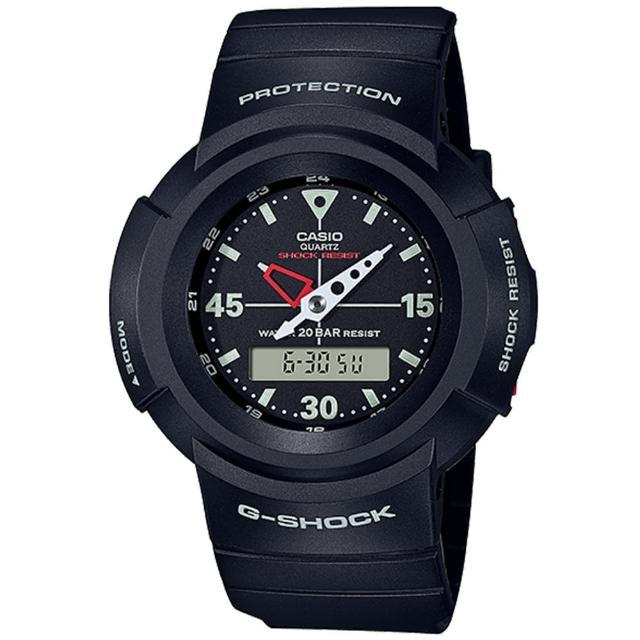 【CASIO 卡西歐】G-SHOCK 復刻經典初號機雙顯手錶(AW-500E-1E)