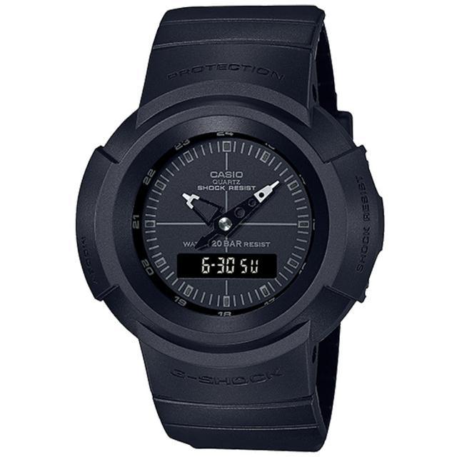 【CASIO 卡西歐】G-SHOCK 復刻經典ONE TONE系列雙顯手錶(AW-500BB-1E)
