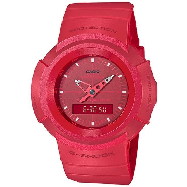 【CASIO 卡西歐】G-SHOCK 復刻經典ONE TONE系列雙顯手錶(AW-500BB-4E)