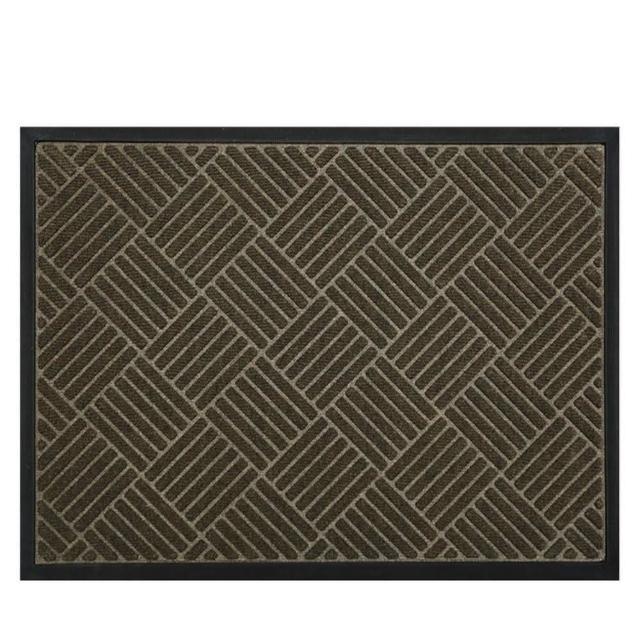 【JEN】現代菱格環保丙綸橡膠門口客廳地毯地墊防滑墊60*90cm-菱夢棕