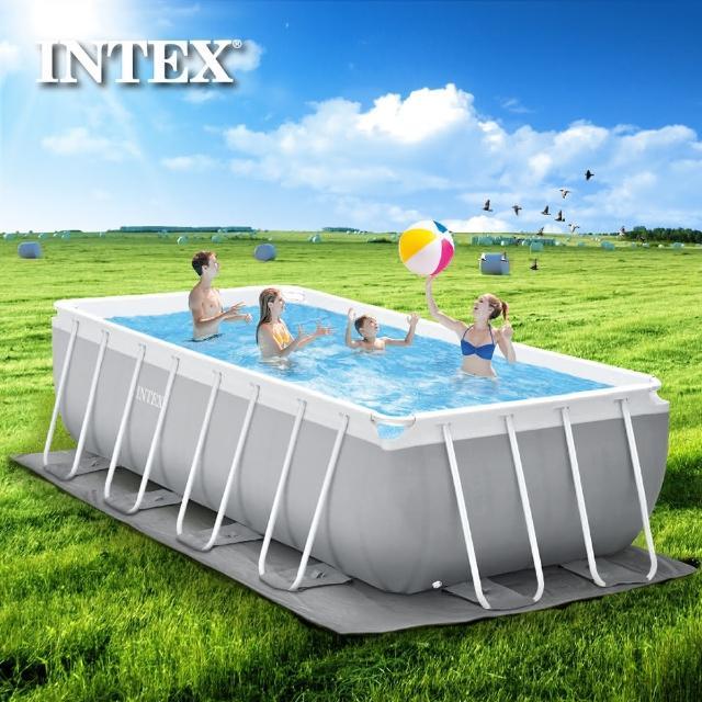 【INTEX】長型框架速搭大型游泳池-附濾水泵488x244x107cm-10874L 適用6歲+(26791)