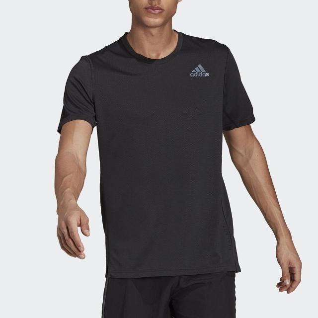 【adidas 愛迪達】上衣 男款 短袖上衣 運動 慢跑 HEAT RDY TEE 黑 H13218