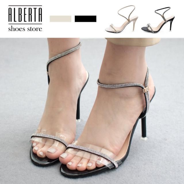 【Alberta】10cm涼鞋 優雅氣質一字透明水鑽 亮皮尖頭細跟套腳高跟涼鞋