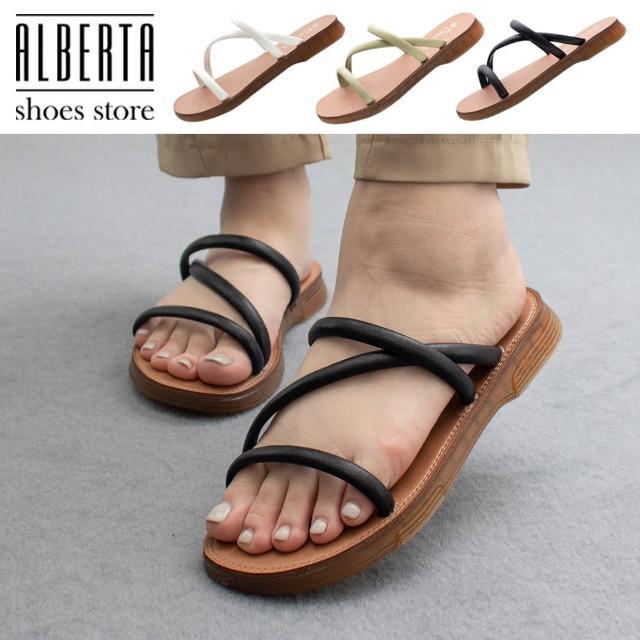 【Alberta】2cm涼鞋 軟Q牛筋鞋底 優雅氣質百搭Z字細帶 皮革平底圓頭涼拖鞋