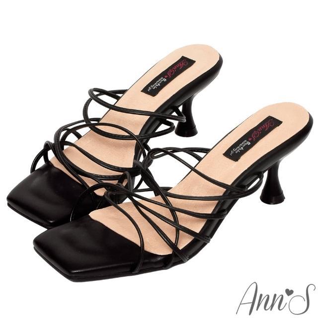 【Ann'S】港風小姊姊-多重細帶酒杯跟方頭涼拖鞋6cm-版型偏小(黑)