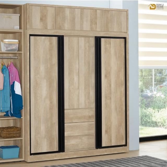 【德泰傢俱】Rod輕工業風6尺推門衣櫃+上被櫃 A003-301-8+9