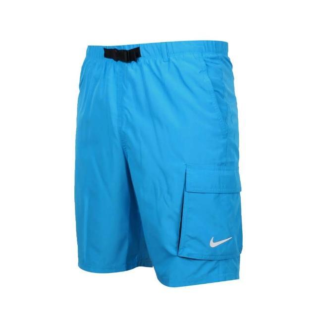 【NIKE 耐吉】男成人九吋海灘短褲-五分褲 海邊 慢跑 路跑 戲水 平織 寶藍白(NESSB521-406)