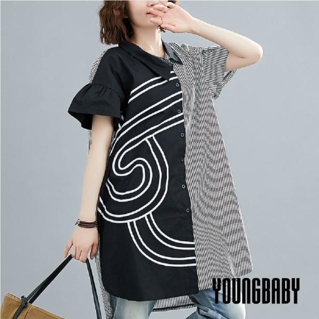 【YOUNGBABY】直紋弧紋不對襯長襯衫